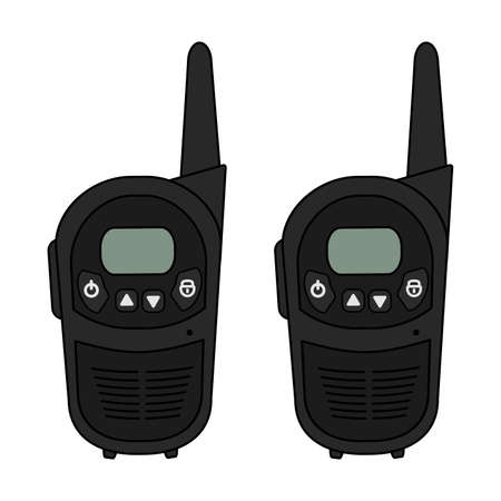 Two travel black portable mobile vector radio set devices. Color illustration isolated on white