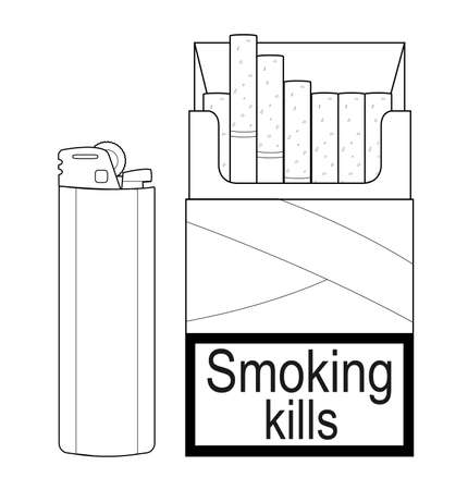 Open cigarettes pack with disposable gas lighter.Contour lines illustration isolated on white