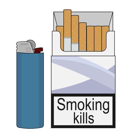 lighter gas: Abierto el paquete de cigarrillos con gas desechable azul m�s claro. El arte del clip de color Ilustraci�n aislado en blanco