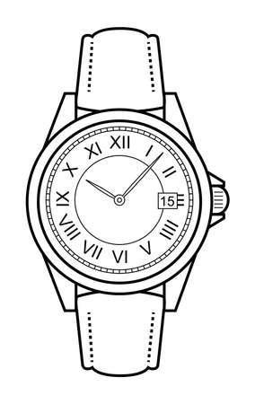 cintur�n de cuero: Mec�nico de lujo de estilo de negocios elegante mano cl�sico con estilo relojes con n�meros romanos. Cintur�n de piel. El arte del clip. Las l�neas de contorno ilustraci�n aislado en blanco