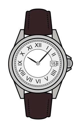 cintur�n de cuero: Mec�nico de lujo de estilo de negocios elegante mano cl�sico con estilo relojes con n�meros romanos. Cintur�n de piel. El arte del clip. Ilustraci�n de color aislado en blanco Vectores