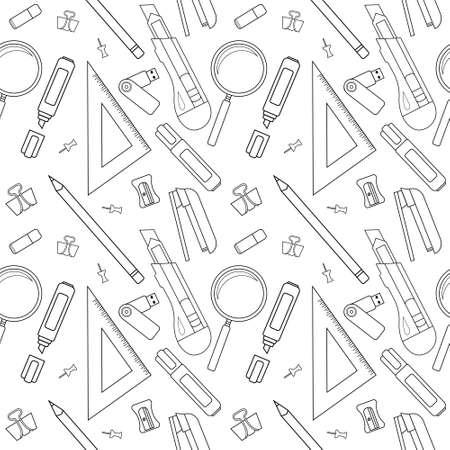 Stationery tools seamless vector line art pattern: eraser, clip, binder, pencil, knife, magnifying glass, green marker, usb flash drive, yellow marker, sharpener, stapler, triangular ruler, paper clip Vector