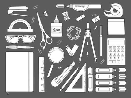 corrector: Stationery tools: marker, paper clip, pen, binder, clip, ruler, glue, zoom, scissors, scotch tape, stapler, corrector, glasses, pencil, calculator, eraser, knife, compasses, protractor, sticky notes.