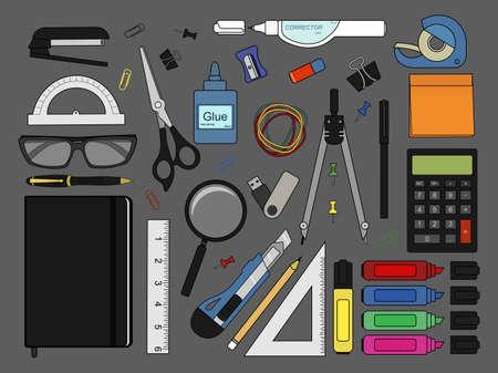 corrector: Stationery tools: marker, paper clip, pen, binder, clip, ruler, glue, zoom, scissors, stapler, corrector, glasses, pencil, calculator, eraser, knife, compasses, protractor, sticky notes, notebook, usb