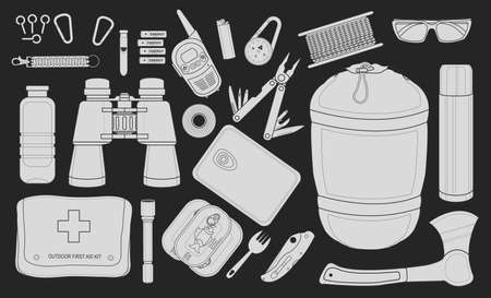 pocket flashlight: Set of survival camping equipment flashlight, canned food, fork, food container, pocket knife, ax, carabiner, whistle, batteries, radio set, lighter, compass and others. Chalkboard illustration Illustration