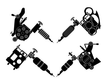 classic tattoo: Set of 4 different style realistic tattoo machines icons. Revolver tattoo machine, knuckle duster tattoo gun. Invert black and white color illustration isolated on white