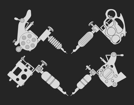 knuckle: Set of 4 different style realistic tattoo machines icons. Revolver tattoo machine, knuckle duster tattoo gun. Chalkboard illustration isolated on black Illustration