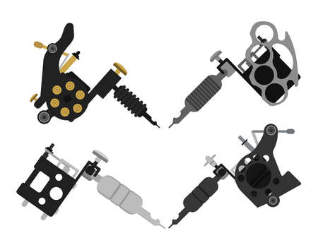 paint gun: Set of 4 different style realistic tattoo machines icons. Revolver tattoo machine, knuckle duster tattoo gun. Color no outline illustration isolated on white