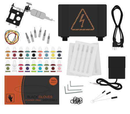 rubber tube: Set of professional tattoo equipment: tattoo machine, power supply, cord, rubber bands, different type grips, needles, footswitch, pack of black gloves, grommet. Color no outline illustration Illustration