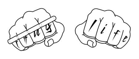 Clenched man fists with Thug life tattoo holding brass knuckles. Black and white illustration isolated on white Vector