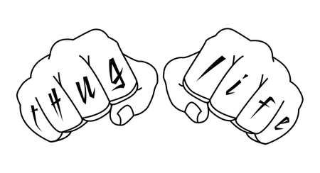 thug: Gangster fists with thug life fingers tattoo. Man hands outlines vector illustration isolated on white