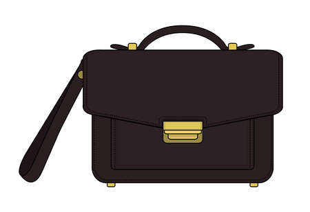 Businessman luxury leather brown hand bag. Vector color clip art illustration isolated on white Illustration
