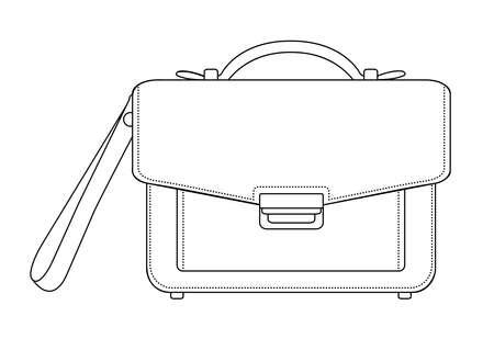 clip art: Uomo d'affari di lusso in pelle borsa a mano marrone. Vector clip art linee di contorno illustrazione isolato su bianco