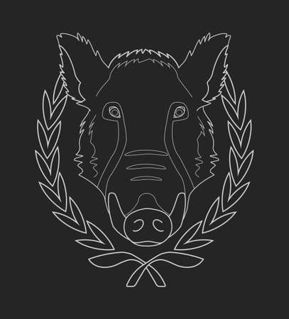 tusks: Hunting trophy. Feral wild boar head with big tusks in laurel wreath. Chalk vector illustration isolated on blackboard