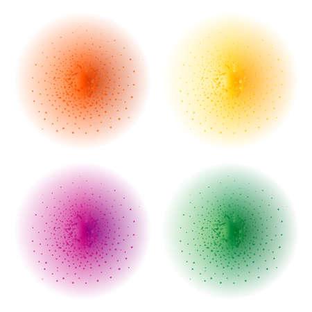 clip art: Vernice spruzzo effect.Orange, giallo, viola, verde spruzzi sfere. Illustrazione di clip art illustrazione isolato su bianco