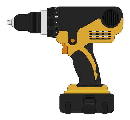 refit: Electric cordless hand drill icon in black and yellow colors. Clip art vector illustration isolated on white