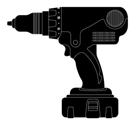cordless: Electric cordless hand drill icon in black color. Clip art vector silhouette illustration isolated on white Illustration