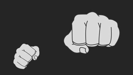 Clenched striking man fists in fight stance. Ready to fight. Chalk vector clip art illustration isolated on blackboard Vettoriali