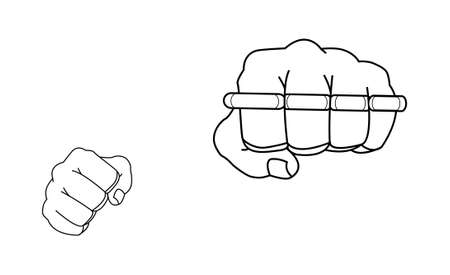 lawbreaker: Clenched man fists holding brassknuckle. Punching. Contour lines vector illustration isolated on white