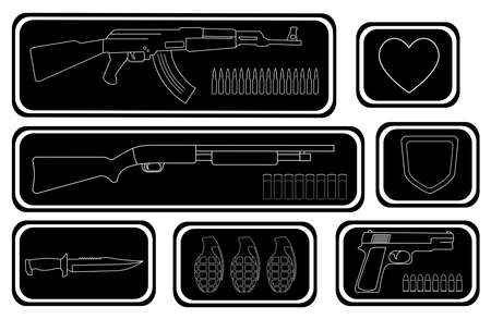 riffle: Army game resource set. Military soldier inventory: assault rifle health bar shotgun shield bar combat knife grenade pistol bullets. Black and white vector illustration isolated on white