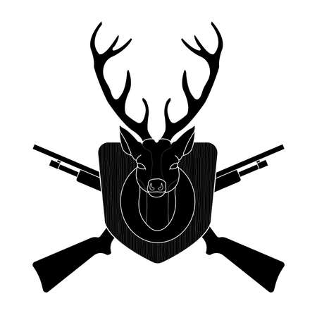 vintage riffle: Hunting trophy. Stuffed taxidermy deer head with big antlers in wood shield. 2 crossed shotguns. Black silhouette vector illustration isolated on white