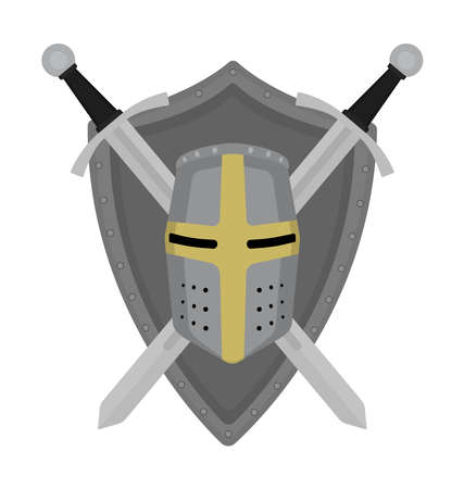 security logo: Two crossed swords steel shield and helmet heraldry emblem. Security logo. Clip art color vector illustration isolated on white