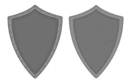 chivalry: Medieval knight old steel armor shield with scratches and rivets. Color clip art vector illustration isolated on white. Contour, no contour Illustration