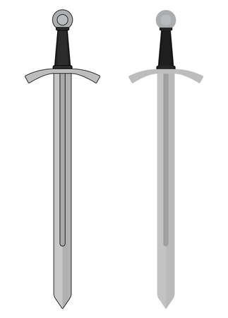 no color: One-handed medieval knight vector iron sword clip art color illustration isolated on white. Contour, no contour Illustration