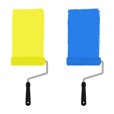 clip art: Giallo e blu vernice di colore rullo con tracce di vernice. Illustrazione di clip art illustrazione isolato su bianco