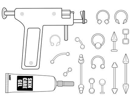 body piercing: Set of professional body piercing instruments: piercing gun, skin care cream, piercings collection. Contour lines vector illustration isolated on white Illustration