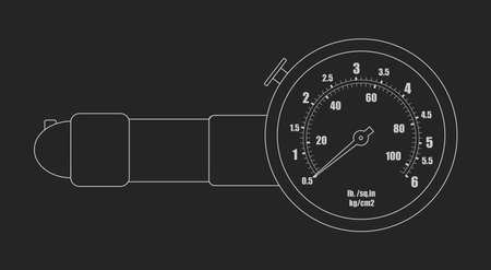 pressure gauge: Tire pressure gauge. Mechanic measurement auto service tool. Chalk scheme vector illustration isolated on blackboard