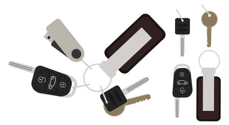 starter: Set of realistic keys icons: remote car starter, usb flash drive, leather trinket, group of house keys. Color vector no outline clip art illustration isolated on white