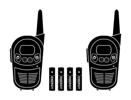 Two travel portable mobile vector radio set devices wit 4 accumulator batteries. Black silhouette illustration isolated on white