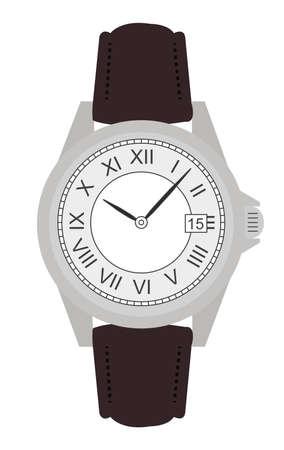 cintur�n de cuero: Estilo cl�sico de la mano de negocio mec�nico relojes de lujo con n�meros romanos. Cintur�n de cuero. El arte del clip. Colorea ninguna Ilustraci�n del esquema aislada en blanco