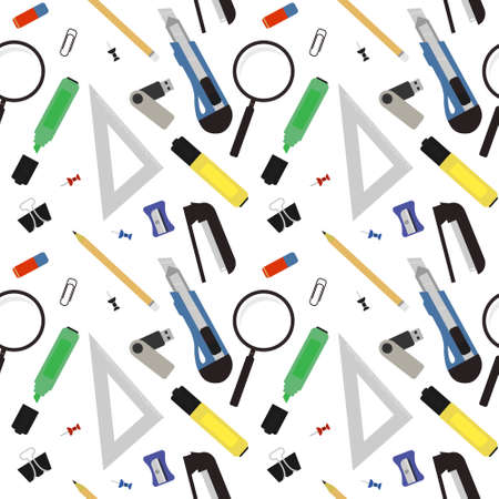 Stationery tools seamless vector pattern: eraser, clip, binder, pencil, knife, magnifying glass, green marker, usb flash drive, yellow marker, sharpener, stapler. No outline Vector