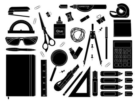 clerical: Stationery tools: marker, paper clip, pen, binder, clip, ruler, glue, zoom, scissors, stapler, corrector, glasses, pencil, calculator, eraser, knife, compasses, protractor, black and white colors