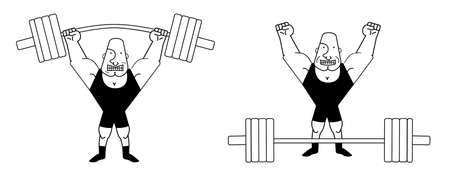 heavy lifting: Sportsman lifting heavy barbell. Athlete standing with happy face. Vector clip art contour lines illustration isolated on white