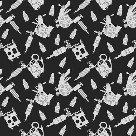 knuckle: Tattoo machines and ink vector seamless pattern. Chalk illustrations on blackboard