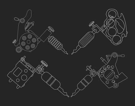 knuckle: Set of 4 different style realistic tattoo machines icons. Revolver tattoo machine, knuckle duster tattoo gun. Chalkboard vector illustration isolated on black