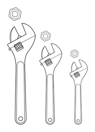 Set of mechanical wrenches with nuts. Black, yellow colors. Vector clip art contour lines illustration isolated on white