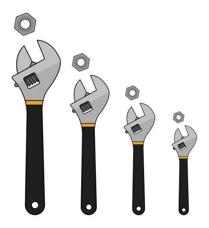 black and yellow: Set of mechanical wrenches with nuts. Black, yellow colors. Vector clip art illustration isolated on white Illustration