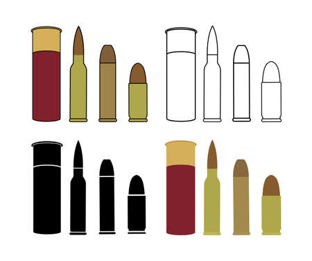 Bullets game set. Shotgun, rifle, pistol. Color, contour lines, black, no outline. Vector clip art icons isolated on white