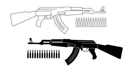 Assault rifle with bullets. Game resources. Vector contour lines and silhouette clip art illustration isolated on white
