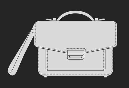 elite: Businessman luxury hand bag. Vector chalk clip art illustration isolated on blackboard Illustration
