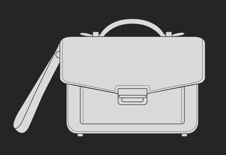 hand bag: El hombre de negocios bolsa de mano de lujo. Tiza Vector de im�genes predise�adas ilustraci�n aislado en la pizarra