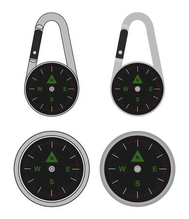 Compact portable pocket travel steel compass on carabiner. Vector clip art illustration isolated on white Illustration