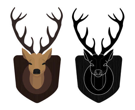 Hunting trophy. Stuffed taxidermy deer head with big antlers in wood shield. Color and black illustrations isolated on white. Vector Vettoriali