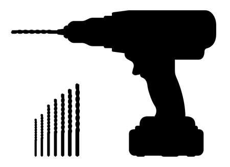 Elektrische draadloze handboor silhouet met bits. Clip art vector illustratie geïsoleerd op wit