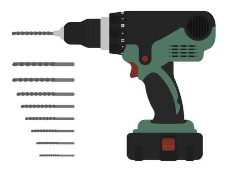 cordless: Electric cordless hand drill with bits. Green and red colors Clip art vector illustration isolated on white