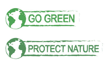 conservancy: Go green, protect nature, scratch grunge graffiti print sign with planet earth icon in green color isolated on white